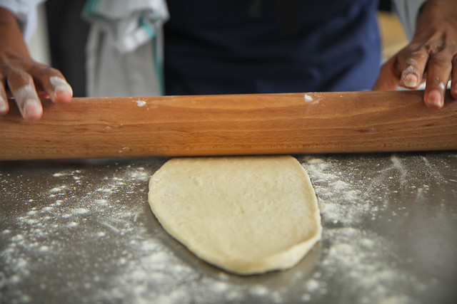 Jan making spiced pitta bread