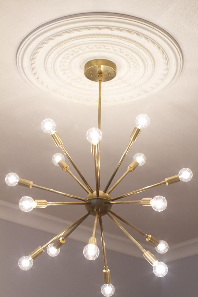 Before after sputnik lighting in the dining room for Dining room light fixtures modern