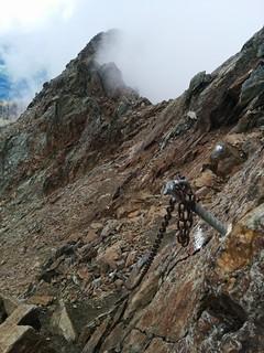 Aufstieg Hasenöhrl, Ketten-gesicherte Passage