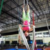 Toda amarrada...  Preparando para descer no Cristo.  #aerialarts #aerialsilks #aerialsilk #aerialist #tecidoaereo #tecidoacrobatico #acrobaciasaereas #acrobatas #Circus #circo #circoetereo