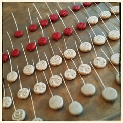 Starting some stitch markers to finish up at Fiber-In #stitchmarkers #polymerclay