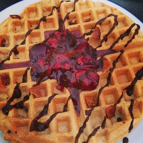 Peanut butter waffle with cherry compote