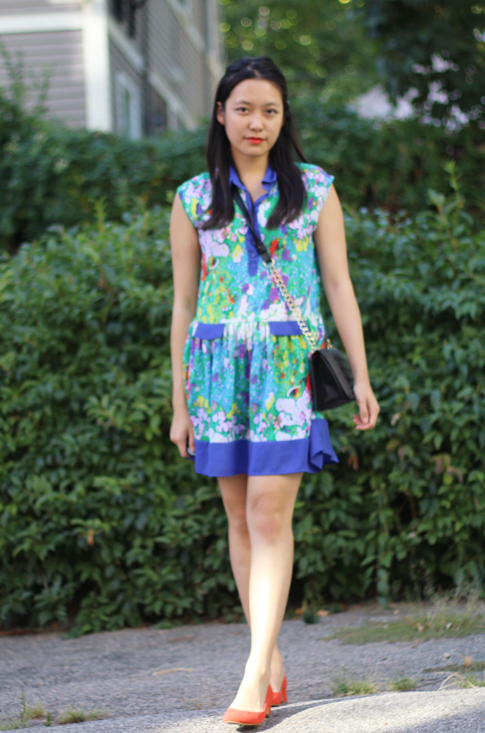 Watercolor print floral dress and quilted chain crossbody from Forever21