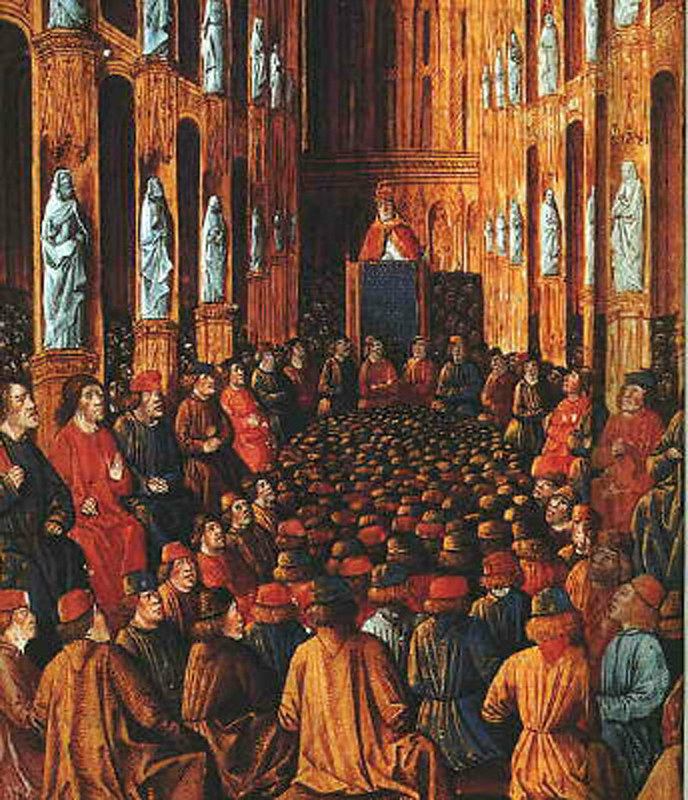Pope Urban II at the Council of Clermont, Illumination from the Livre des Passages d'Outre-mer