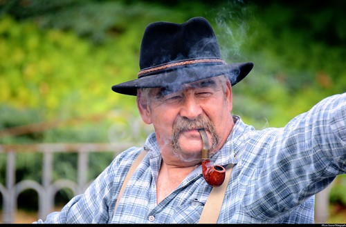 Paysan à la pipe, farmer with his pipe, Altaburafascht 2014, Bernwiller, Sundgau, Alsace.