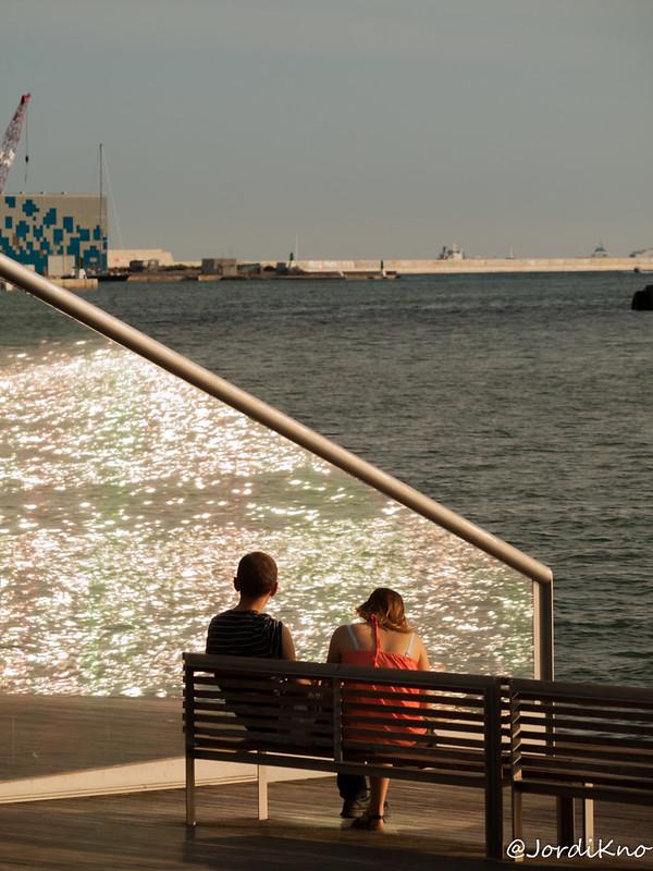 Reflejos del mar. Moll de la Fusta, Barcelona