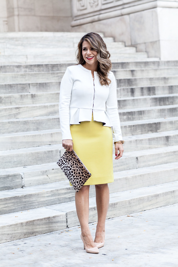 J.Crew Pencil Skirt TopShop Blazer jcrew #2 pencil skirt yellow pencil skirt white blazer nude pumps dvd bethany pumps new york city blogger what to wear to work work outfit professional look corporate blog what I wore look of the day