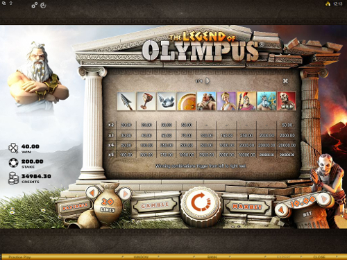 free The Legend of Olympus slot payout