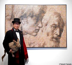 Dr. Takeshi Yamada and Seara (Coney Island sea rabbit) at the Chelsea art gallery district in Manhattan, New York on February 8, 2017.   20170208Wed. Chelsea, DSCN9804=p3035xC