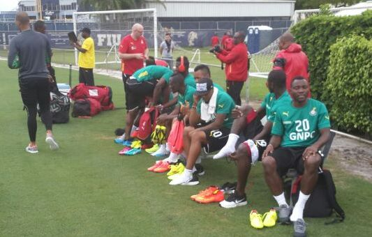Pictures of Black Stars players at the Miami base