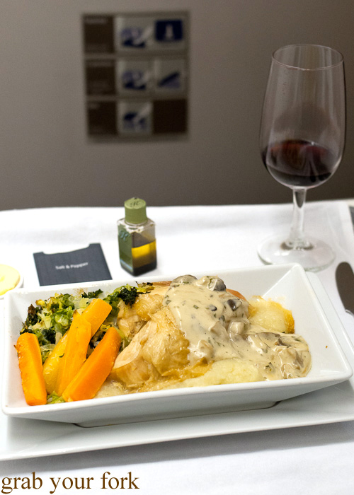 Roasted breast of cornfed chicken on British Airways business class London to Singapore