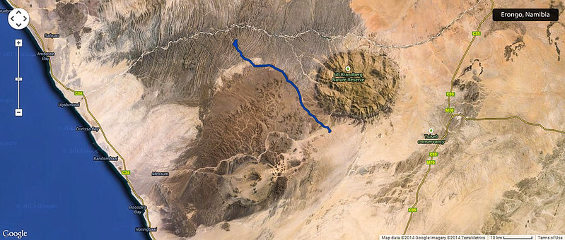 Satellite pictures of the rugged landscape of Damaraland, Namibia