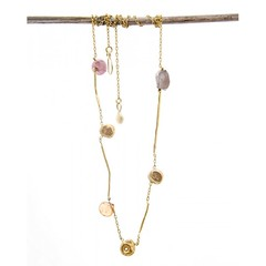 Pink Multi Rods & Nuggets Necklace