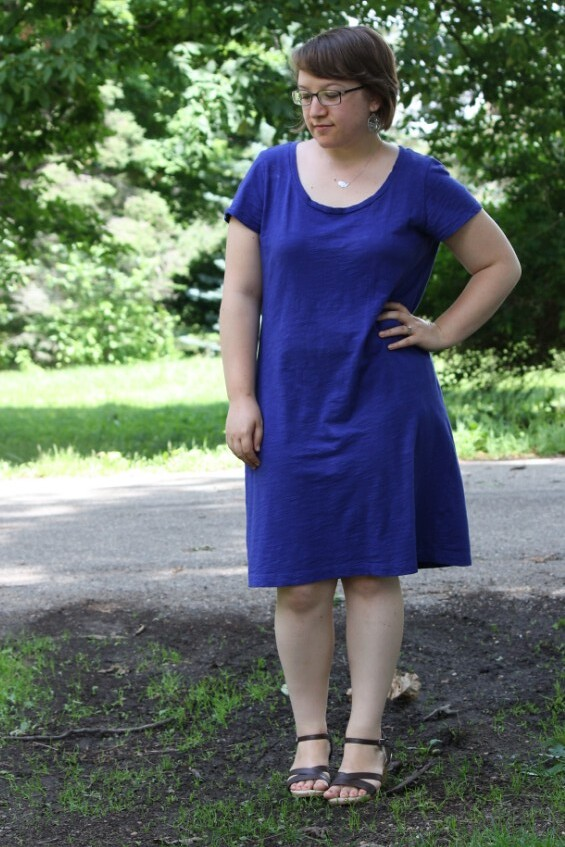 indigo dress, brown wedges