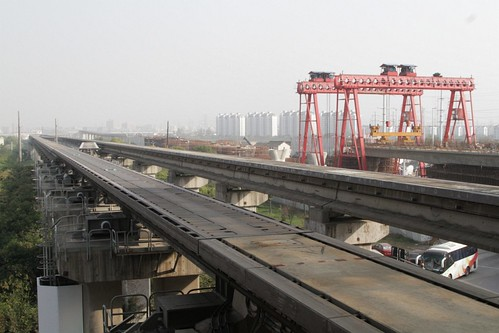 Crossovers in the maglev track outside Longyang Road station