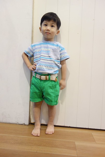 Pumpkin Patch Aztec prints tee with green berms shorts with belt