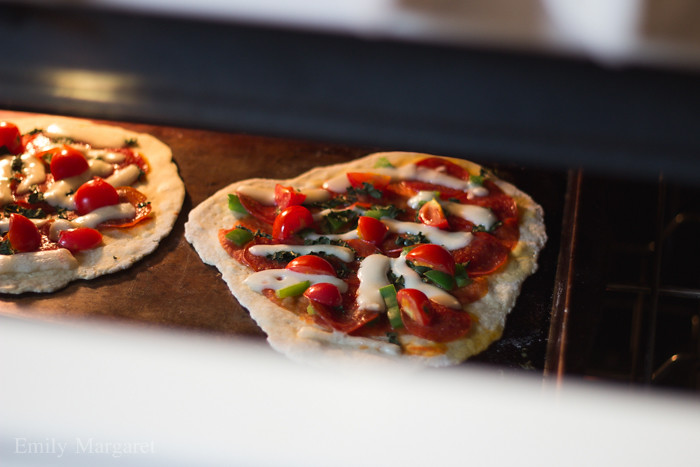 flatbread margherita pizza baking