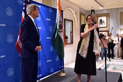 U.S. Charge d'Affaires Kathleen Stephens introduces U.S. Secretary of State John Kerry before he addresses and thanks employees of Embassy New Delhi for their work helping organize a Strategic Dialogue between the United States and India on August 1, 2014. [State Department photo/ Public Domain]