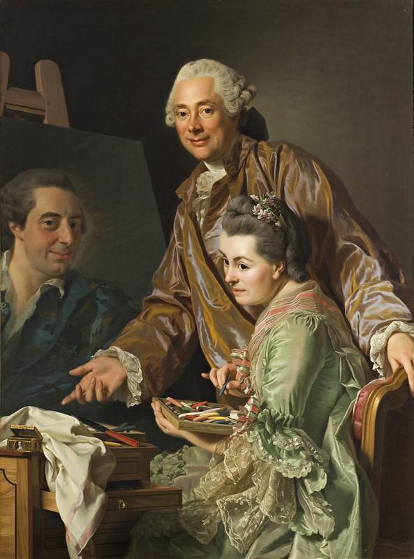 Alexander Roslin - Självporträtt med hustrun Marie Suzanne Giroust målande Henrik Wilhelm Peills porträtt (1767)