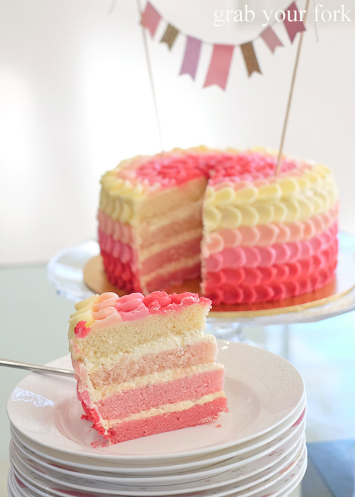Pink ombre cake layers inside the lychee jasmine cake