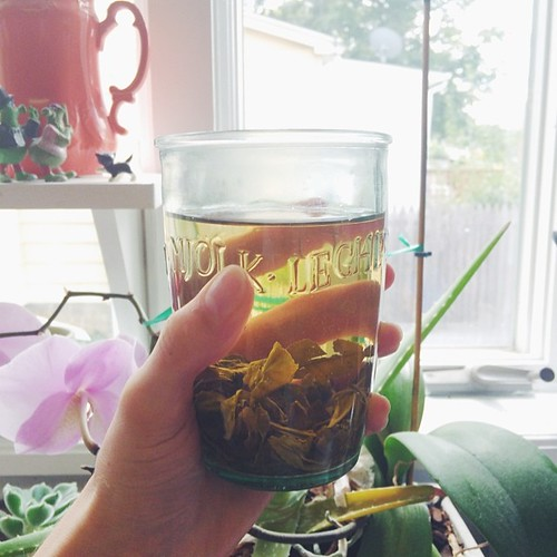Tea, always. Also, love this glass from @anthropologie. I think I need one (or four...)   [ #eatfoodphotos Aug 12 | #beverages ] #vscocam #vsco #tea #jjupandaway