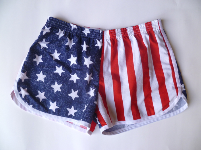 Patriotic American Flag Prefontaine Shorts - front flat by Hey, It's SJ