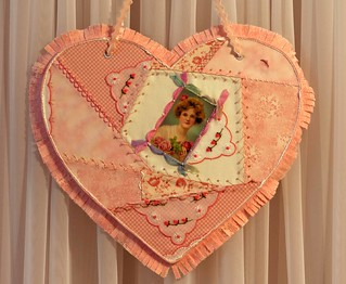 Peachy Pink Crazy Quilt Emroidered Heart