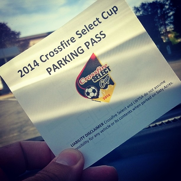 Taking pictures of a soccer tournanent on a cell phone fails. So here's a parking pass.