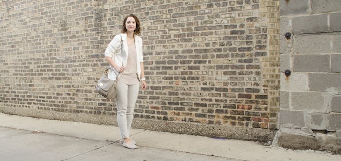 grayscale august, sheinside white ponte blazer, gap suede loafers, old navy gray jeans, club monaco silk print top