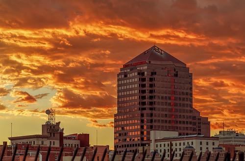 city sunset sky newmexico architecture clouds downtown cityscape cloudy albuquerque nm grantcondit