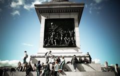Taking a break at Nelson's Column