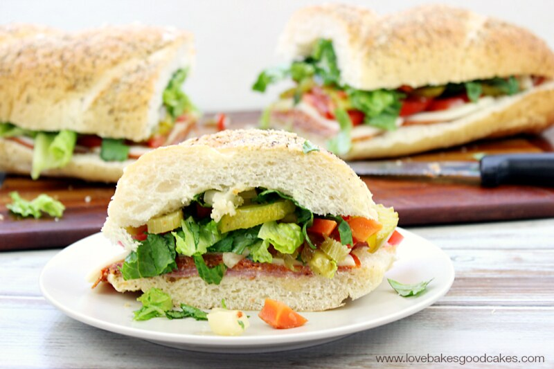 This Italian Sub is perfect for a quick dinner idea or for game day snacking! Easy to customize! #OldWorldStyleOM #ad