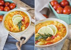 Lentil soup in blue pot