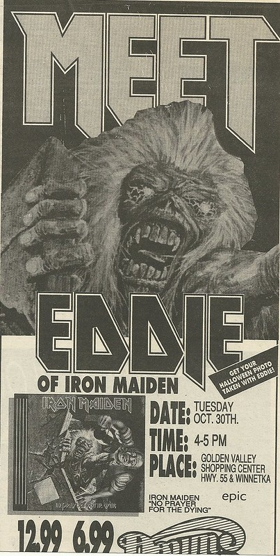 10/30/90 Iron Maiden (Meet Eddie!) @ Down In The Valley, Golden Valley, MN (Ad-Top)