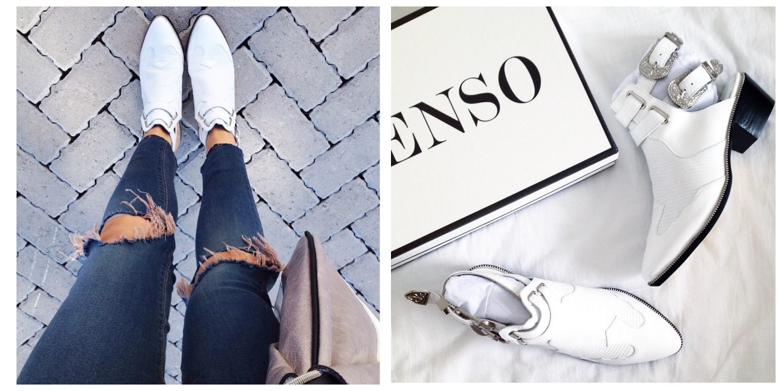Senso white buckle detail boots