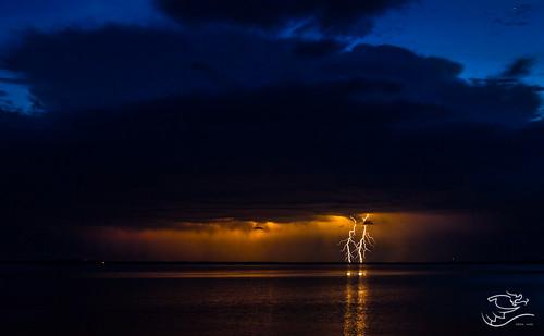 blue orange canada storm weather night clouds landscape lakes alberta lightning lacstanne drewmayphotography