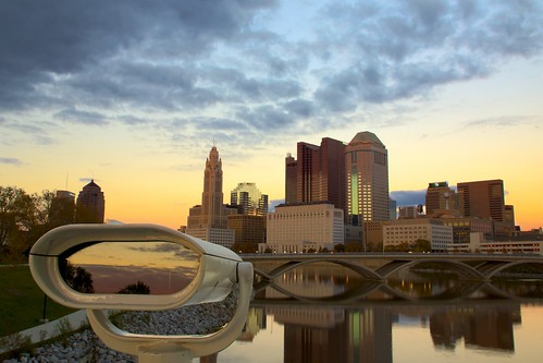 city columbus sunset ohio reflection building skyline architecture river downtown unitedstates telescope 5photosaday sonyslt