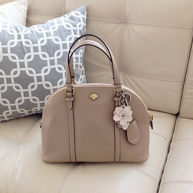 Coach Factory Cora domed leather satchel in beige