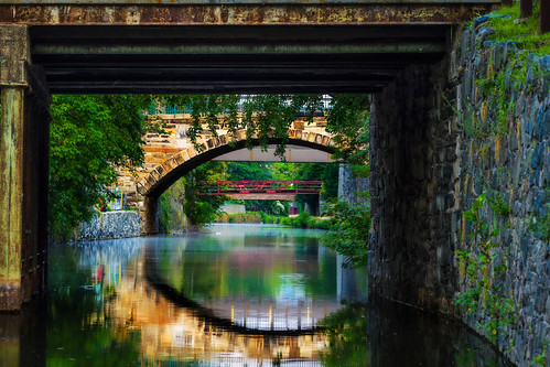 bridge washingtondc canal vanishingpoint nikon georgetown waterreflection cocanal chesapeakeohiocanalnationalhistoricalpark framewithinaframe d600 nikond600 insiteimage