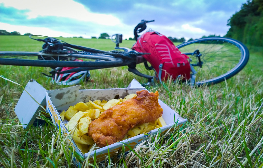 Fish and chips in a field
