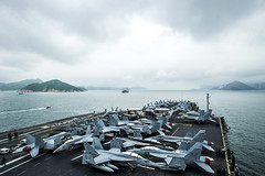 USS George Washington (CVN 73) approaches Hong Kong June 16. (U.S. Navy/MC3 Beverly J. Lesonik)