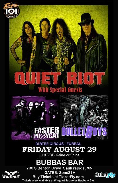 08/29/14 Quiet Riot/ Faster Pussycat/ BulletBoys/ Dirtee Circus/ Fureal @ Bubba's Bar & Grill, Sauk Rapids, MN