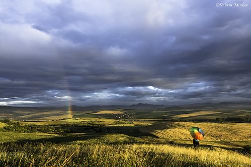 morning nature girl umbrella sunrise landscape outdoors rainbow europe bulgaria valley fields balkans