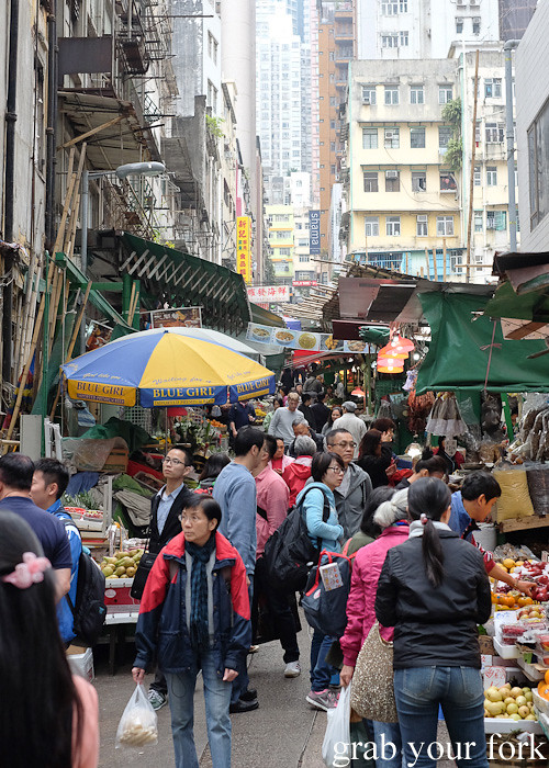 Graham Street market in the Central district, Hong Kong