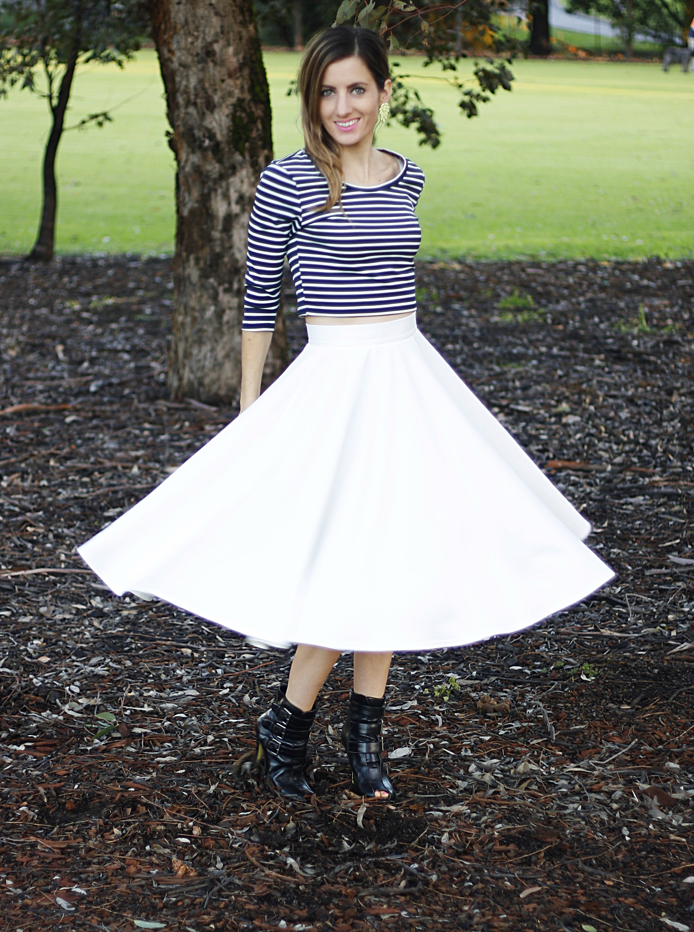 asos midi skirt, beginning boutique stripe crop top