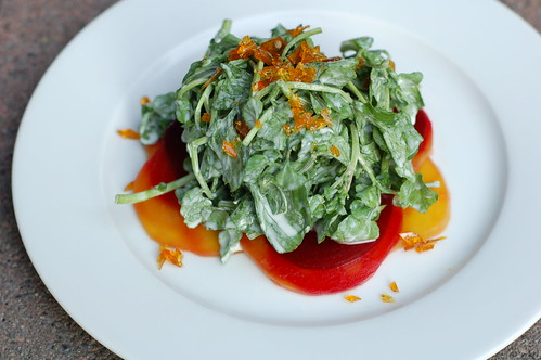 Braised beets with watercress, cardamom brittle and a yogurt dressing at The Huguenot restaurant in New Paltz by Eve Fox, The Garden of Eating copyright 2014
