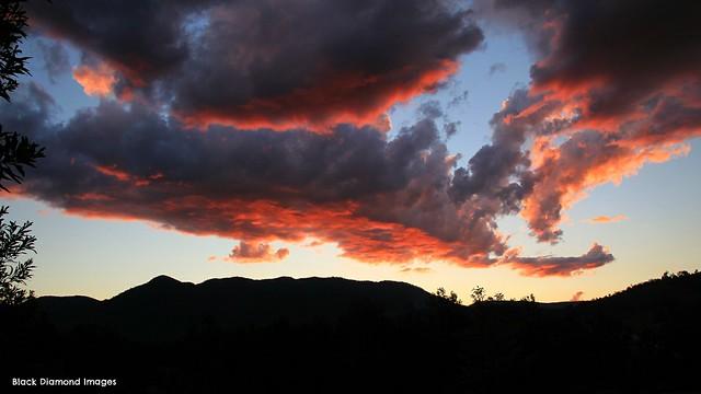 Sunset over Mt Seaview & Cotton-Bimbang National Park, From Near Birdwood, NSW