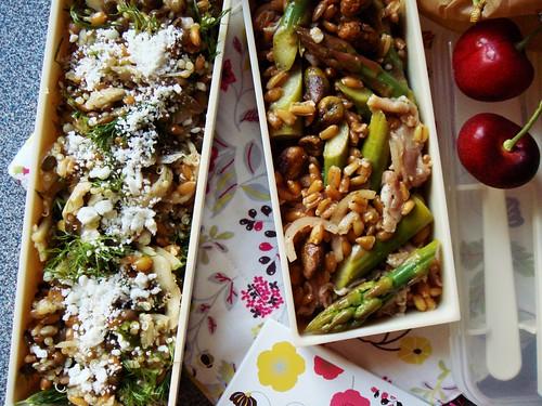 Farro Quinoa with Pickled Fennel & Lentil, Farro Asparagus Salad with Serrano Ham & Pistachios