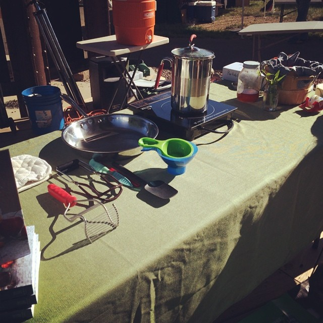 All set up to demo a small batch of plum jam at the phoenixville farmers market.