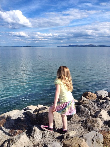 blue ireland sea sky white galway water girl clouds island rocks view salthill peaceful thoughts walkway theprom salthillpromenade